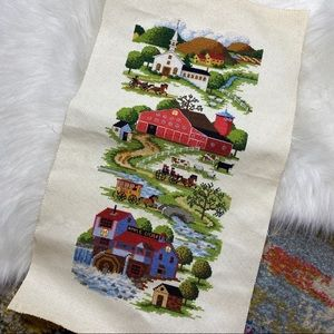 Vintage Needlepoint Stitching Tapestry Wall Art